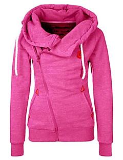 Damen Hoodie-Jacke Lässig/Alltäglich Einfach Solide Unelastisch Polyester Langarm Herbst