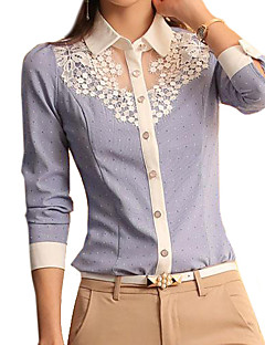 Damen Solide Einfach Lässig/Alltäglich Hemd,Hemdkragen Frühling Langarm Blau Polyester Dünn