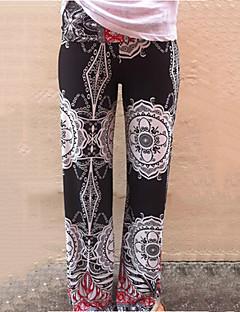 Feminino Perna larga Jeans Calças-Estampado Cintura Média Algodão / Poliéster / Others Com Elástico Todas as Estações