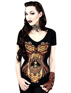 Blusa/Camisa Lolita Clássica e Tradicional Cosplay Vestidos Lolita Preto Estampado Camiseta Para Feminino Licra