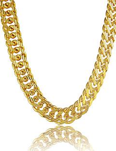 Homens Colares em Corrente Formato Circular Formato de Linha Pedaço de Platina Chapeado Dourado Ouro Liga Personalizado bijuterias Jóias