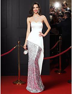 Mořská panna Srdcový výstřih Na zem Satén Flitry Promoce Formální večer Šaty s Flitry podle TS Couture®