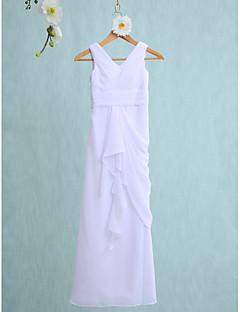 Sütun V-Yaka Yere Kadar Şifon Çocuk Nedime Elbisesi ile Katmanlı Fırfır Dantelalar tarafından LAN TING BRIDE®