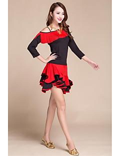 יהיה לנו שמלות ריקוד לטינית נשים הביצועים של אלסטי משי כמו סאטן גדיל (ים) 1 חתיכה שחור / אדום