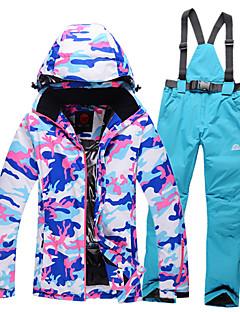 Roupa de Esqui Jaquetas de Esqui/Snowboard Conjuntos de Roupas Mulheres Roupa de Inverno Poliéster camuflagem Vestuário de Inverno