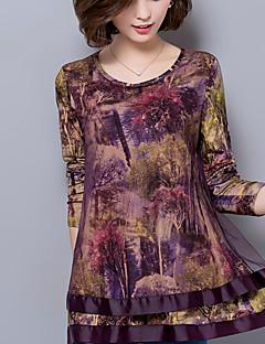 Mulheres Blusa Casual / Tamanhos Grandes Moda de Rua Primavera / Outono,Estampado Marrom / Roxo Raiom / Poliéster Decote RedondoManga