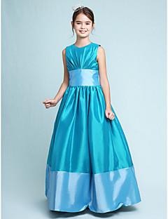 Linha A Princesa Decorado com Bijuteria Longo Tafetá Vestido de Daminha de Honra com Pregueado Faixa / Fita de LAN TING BRIDE®