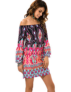 Women's Off The Shoulder|Flare Sleeve|Boho Boat Neck Vintage / Exotic Wind Print Sexy Seaside Beach Dress