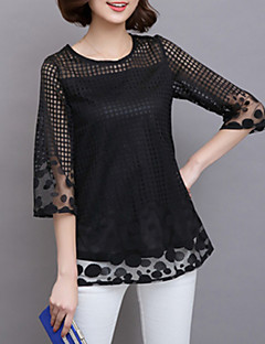 Women's Lace Casual/Daily Simple / Boho Summer Blouse,Solid Round Neck Long Sleeve Pink / Red / White / Black / Gray Rayon / Polyester Sheer