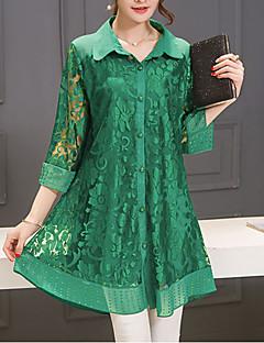 Damen Solide Street Schick Lässig/Alltäglich Bluse,Hemdkragen Sommer Polyester Dünn