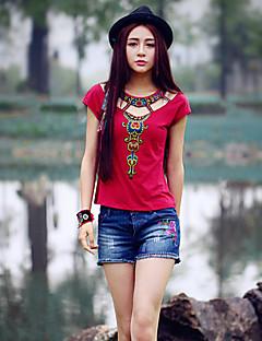 Kortærmet Rund hals Medium Damer Broderi Sommer Vintage I-byen-tøj T-shirt,Bomuld Spandex