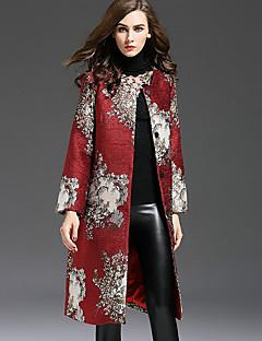 Kadın Orta Polyester Uzun Kollu Yuvarlak Yaka,Kırmızı Sonbahar / Kış Nakışlı Çin Stili Günlük/Sade / Büyük Beden-Kadın Trençkot