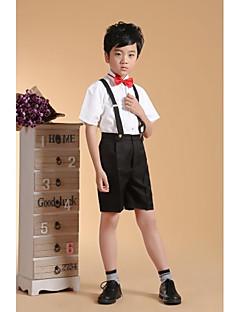 Cotton Ring Bearer Suit - Four-piece Suit Pieces Includes  Pants Suspenders Shirt Bow Tie