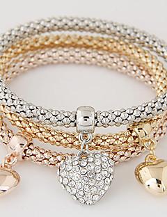 Dame Charm-armbånd Kærlighed luksus smykker Europæisk kostume smykker minimalistisk stil Mode Flerlags Rhinsten Simuleret diamant Legering