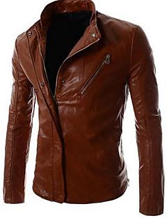 男性 カジュアル/普段着 ソリッド レザージャケット,ヴィンテージ ブラック / ブラウン ポリウレタン 長袖
