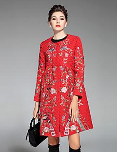 Feminino Casaco Casual Temática Asiática Inverno,Bordado Vermelho / Cinza / Verde Poliéster Decote Redondo-Manga Longa
