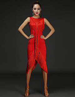 私たちはラテンダンスドレス女性パフォーマンスchinlonスプライシングドレス