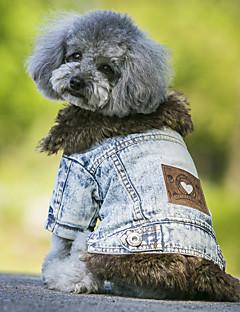 Köpekler Paltolar Kurtki jeansowe Köpek Giyimi Kovboy Moda Sıcak Tutma Kotlar Siyah Mavi