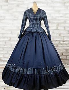 Yksiosainen/Mekot Asut Klassinen ja Perinteinen Lolita 1950-luku Vintage-kokoelma Tyylikäs Cosplay Lolita-mekot Sininen Skottiruudutus