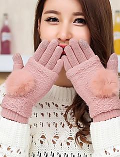 kvinners votter kaninpels lam pels fingertuppene håndleddet lengde søt vinterhansker