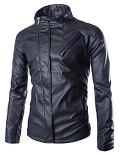 男性 お出かけ / カジュアル/普段着 ソリッド レザージャケット,シンプル / 活発的 スタンド ブラック レザー 長袖