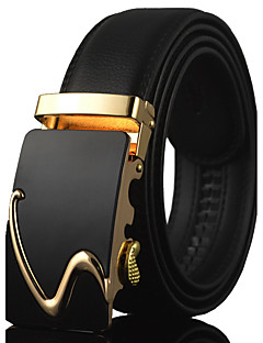Men's Simple Black Leather Alloy Automatic Buckle Waist Belt Work / Casual Leather All Season Gold / Silver