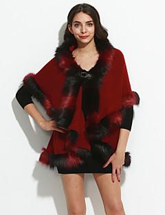 Vrouwen Vintage / Verfijnd Winter Cloak / Capes,Uitgaan / Nette schoenen / Feestje/cocktail Sjaalrevers-Driekwart mouwBlauw / Roze / Rood