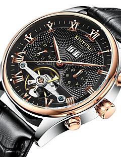 KINYUED Herren Kleideruhr Totenkopfuhr Armbanduhr Mechanische Uhr Automatikaufzug Kalender Chronograph Wasserdicht Leder BandLuxuriös