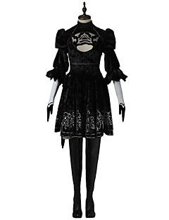 Inspireret af Snigmorder Ace video Spil Cosplay Kostumer Cosplay Kostumer Kjoler Ensfarvet SortKjole Hovedstykke Maske Handsker Strømper