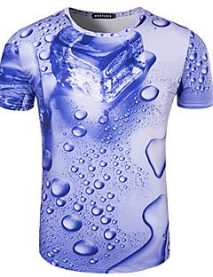 Miehet Lyhythihainen Keskipaksu Pyöreä kaula-aukko Puuvilla Kesä Yksinkertainen Aktiivinen Bile Puku- T-paita,Painettu Sininen