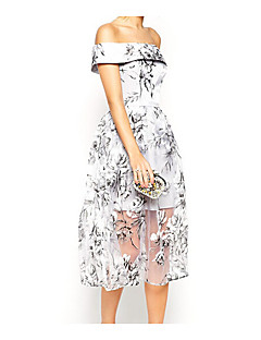 Women's Going out Casual/Daily Simple A Line Dress,Floral Off Shoulder Knee-length Sleeveless Polyester Summer Mid Rise Micro-elastic