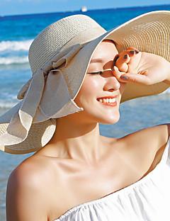 Feminino Casual Palha Verão Floppy De Palha Chapéu de sol,Sólido