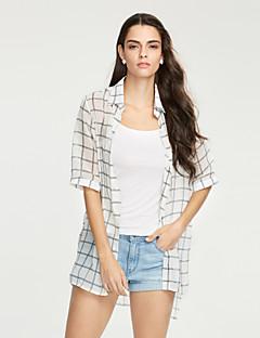 Women's Beach Street chic Summer Shirt,Check Shirt Collar Silk Polyester Thin