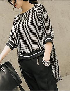 Damen Solide Gestreift Einfach Lässig/Alltäglich Bluse,Rundhalsausschnitt Alle Saisons Polyester Mittel