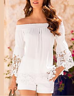 Tee-shirt Femme,Couleur Pleine Sortie simple Eté Manches Longues Bateau Polyester Moyen