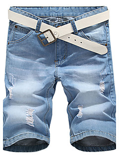 Masculino Simples Cintura Média Jeans Shorts Calças,Delgado Cor Única