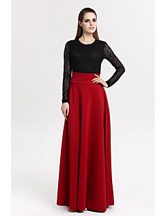 Damen Ausgehen Maxi Röcke Schaukel einfarbig Frühling