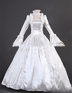 Yksiosainen/Mekot Gothic Lolita Lolita Cosplay Lolita-mekot Valkoinen Vintage Holkki Pitkähihainen Täysipitkä Leninki varten Muuta