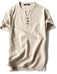 Bomull Lin Tynn Kortermet,Rund hals T-skjorte Ensfarget Vår Sommer Vintage Enkel Fritid/hverdag Sport Plusstørrelser Herre
