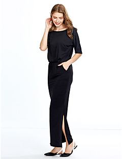 Women's Going out Casual/Daily Simple Loose Dress,Solid Boat Neck Knee-length ½ Length Sleeve Polyester Spring Summer Mid Rise
