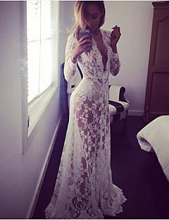 אביב כותנה ניילון שרוול ארוך מקסי צווארון V גיאומטרי סקסי Party שמלה נדן נשים,גיזרה גבוהה מיקרו-אלסטי דק