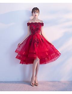 ball gown prinsessa off-the-shoulder epäsymmetrinen tulle cocktail party mekko appliques
