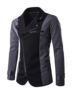 Polyester Normal Langermet,Skjortekrage Blazer Fargeblokk Vinter Gatemote Fritid/hverdag Herre