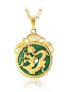 Homens Mulheres Colares com Pendentes Verde Jade Forma Redonda Dragão Liga Circular Pingente Vintage Jóias de Luxo bijuterias Jóias Para