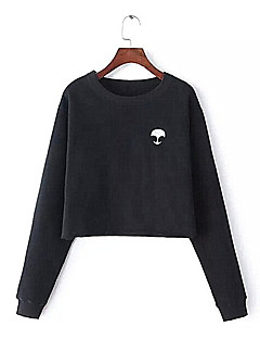 Damen Pullover Alltag Sonstiges Solide Patchwork Rundhalsausschnitt Unelastisch Baumwolle Lange Ärmel Herbst Winter