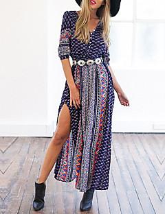 קיץ מקסי צווארון V פסים דפוס משובץ בוהו יום יומי\קז'ואל שמלה טוניקה נשים,גיזרה נמוכה קשיח בינוני (מדיום)