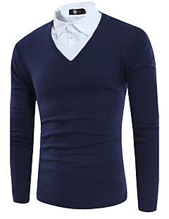 Masculino Padrão Pulôver,Casual Simples Sólido Colarinho de Camisa Manga Longa Poliéster Outono Média Micro-Elástica