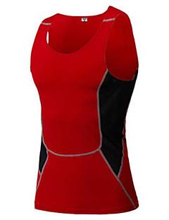 Herre Singlet til jogging Kortermet Fort Tørring Pustende Svettereduserende Stretch Singleter Genser Kompressjonsklær Topper til Løper