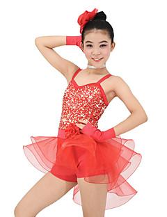 Roupas de Dança para Crianças Roupa Crianças Actuação Organza Licra Sem Mangas Natural