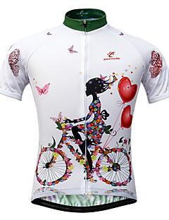 JESOCYCLING サイクリングジャージー 女性用 半袖 バイク ジャージー トップス 速乾性 抗紫外線 フロントファスナー 高通気性 後ポケット ポリエステル100% クラシック スリム 花/植物 春 夏 秋 サイクリング/バイク ホワイト